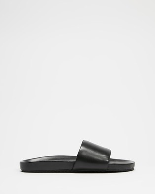 AERE - Leather Slides Sandals (Black)