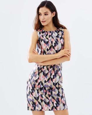 Warehouse – Diamond Ikat Jacquard Dress – Dresses (Multi)