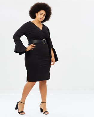 Lost Ink Plus – Body Con Dress with Circle Sleeves – Bodycon Dresses Black