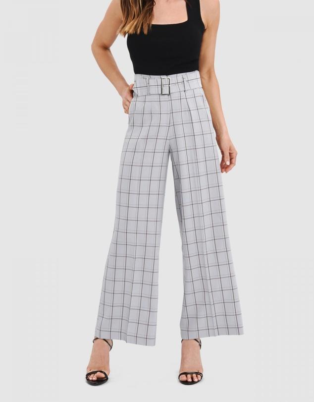 Tiffany High-Waist Check Pants