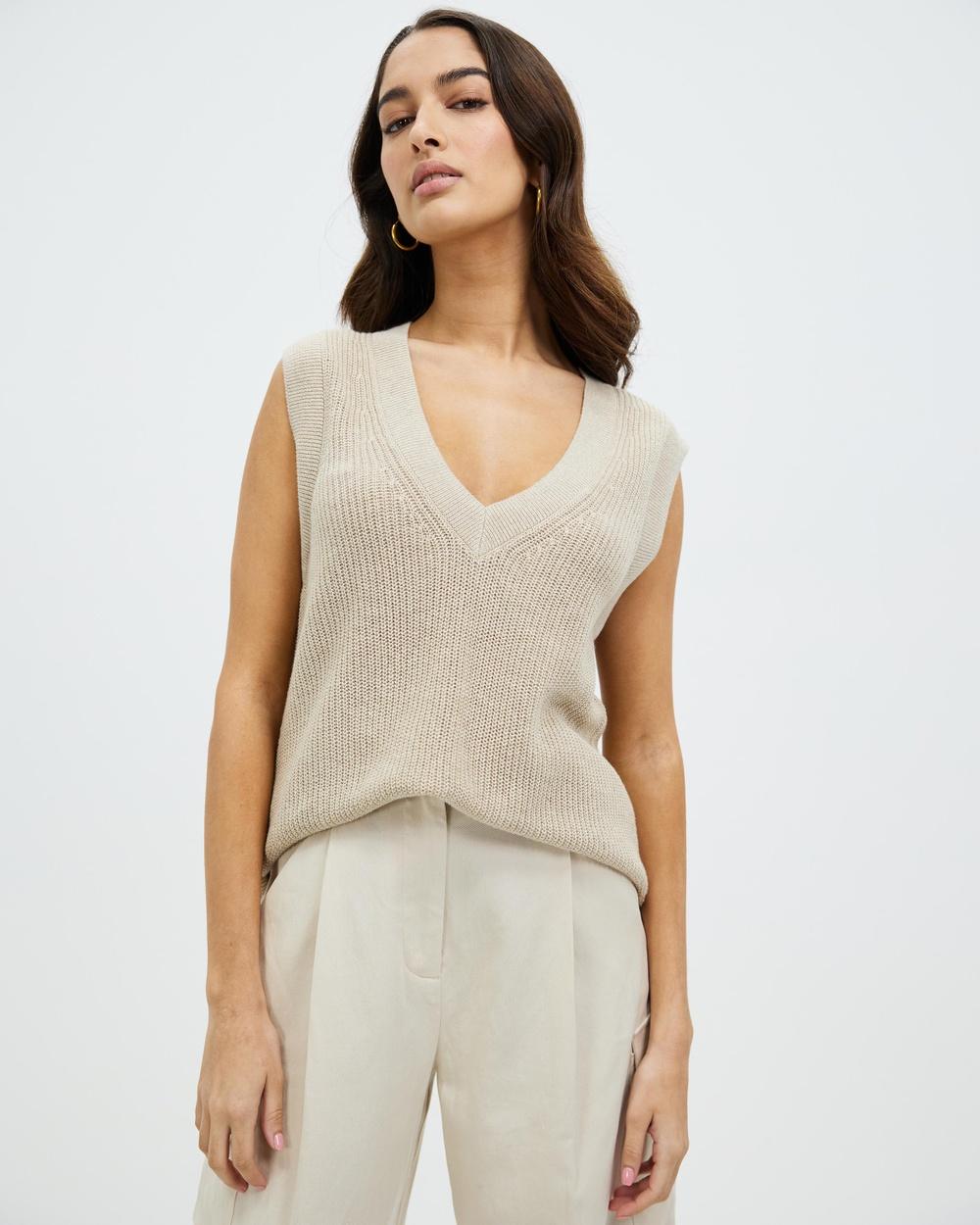 AERE Organic Cotton Linen Vest Coats & Jackets Neutral