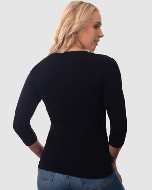 B Free Intimate Apparel Bamboo 3 4 Sleeve Top - Long Sleeve T-Shirts (Black)