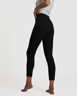 Cotton On Mid Rise Cropped Skinny Jeans Crop Black
