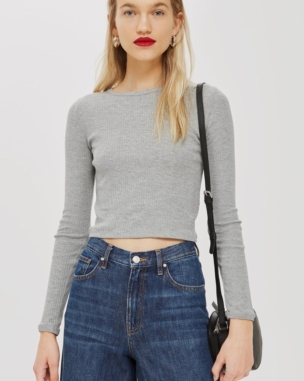 802378537f4 Long Sleeve Scallop T-Shirt by TOPSHOP Online