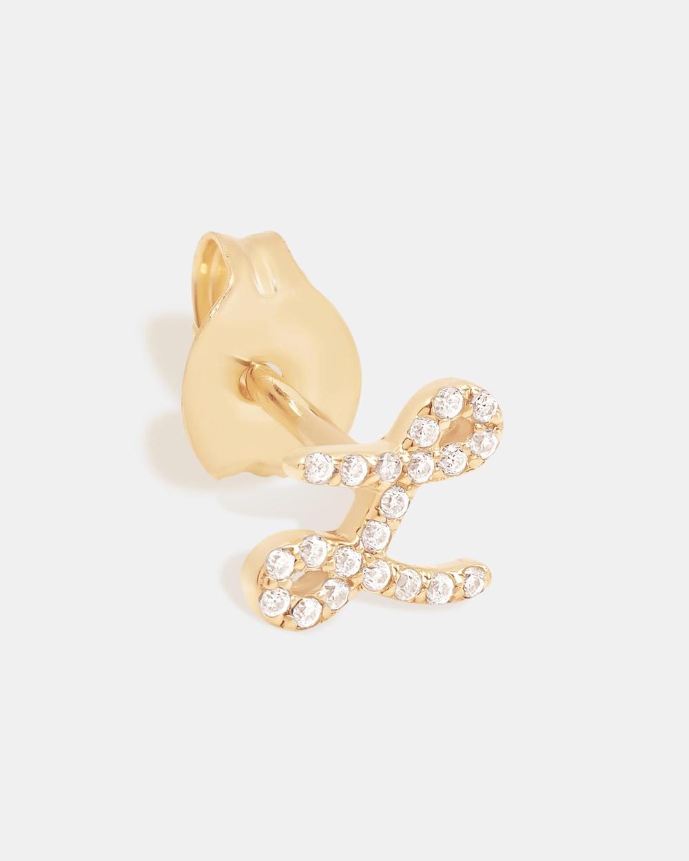 By Charlotte 14K Gold Diamond Love Letter L Single Earring Jewellery Gold L