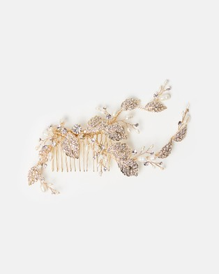 Ivory Knot Misty Hair Comb - Hair Accessories (Gold & Pearl)