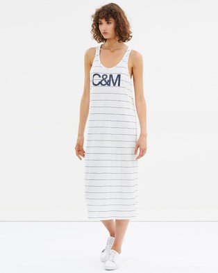 C & M Camilla and Marc – Exclusive Logo Stripe Dress – Printed Dresses Soft White