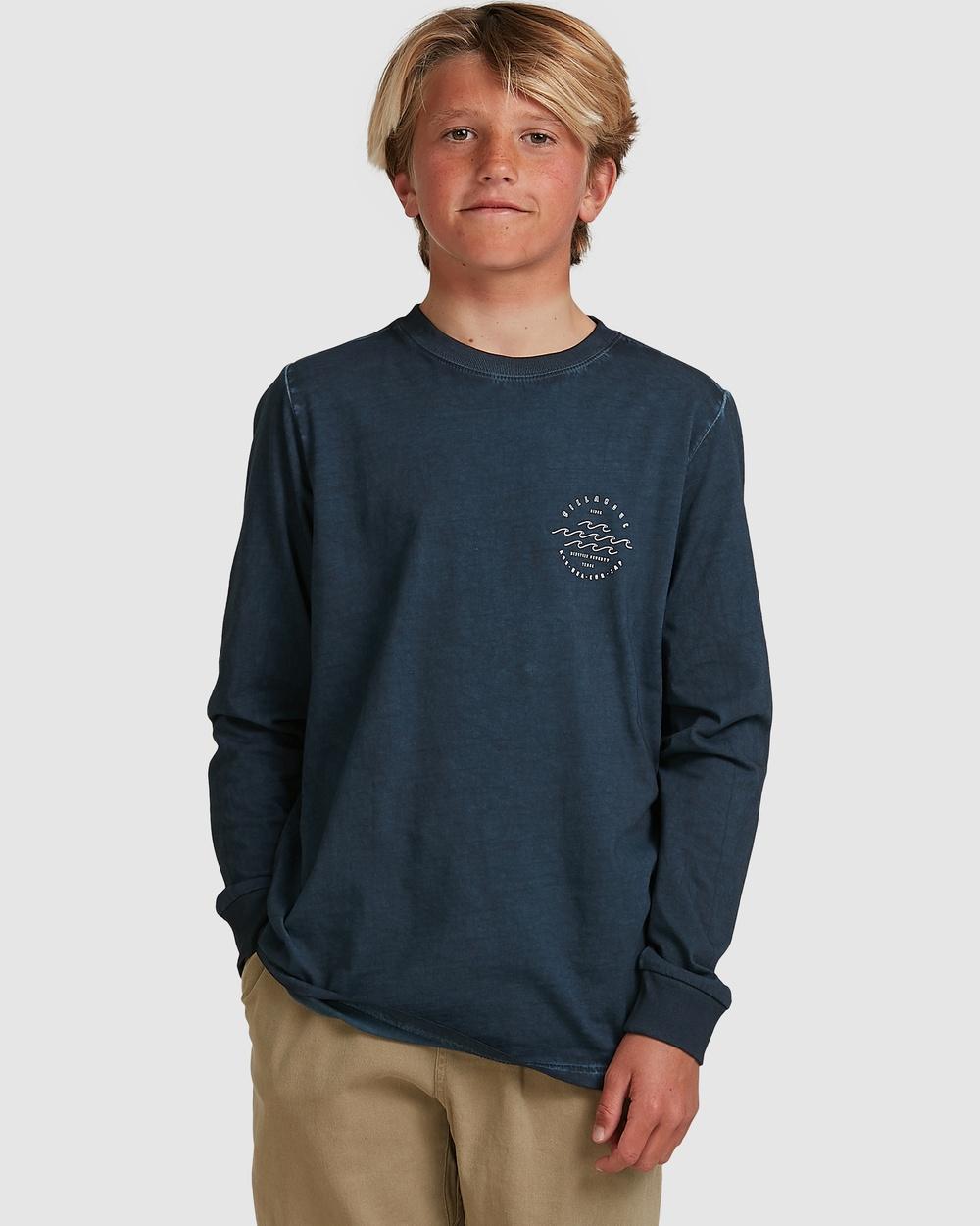 Billabong - Boys Big Wave Dave Long Sleeve Tee - T-Shirts & Singlets (NAVY) Boys Big Wave Dave Long Sleeve Tee