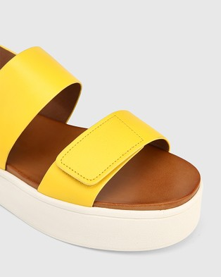 Wittner Jolly Leather Slingback Flatform Sandals - Wedges (Yellow)