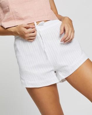 Rusty Sunrise Beach Shorts - High-Waisted (White)