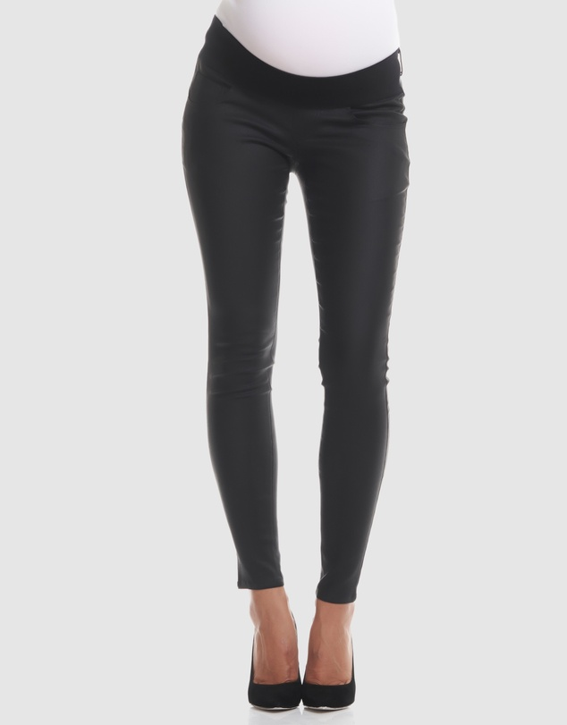 Soon Maternity - Coated Underbelly Skinny Jeans
