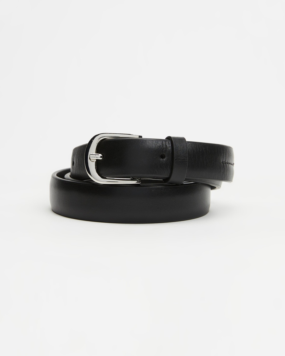 Fall The Label Slim Leather Belt Belts Black & Silver Buckle