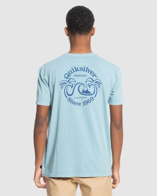 Quiksilver - Mens Double Palms Organic T Shirt - T-Shirts & Singlets (BLUE HEAVEN) Mens Double Palms Organic T-Shirt