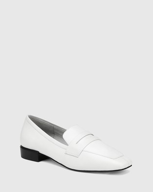 Wittner August Leather Square Toe Loafers Flats White