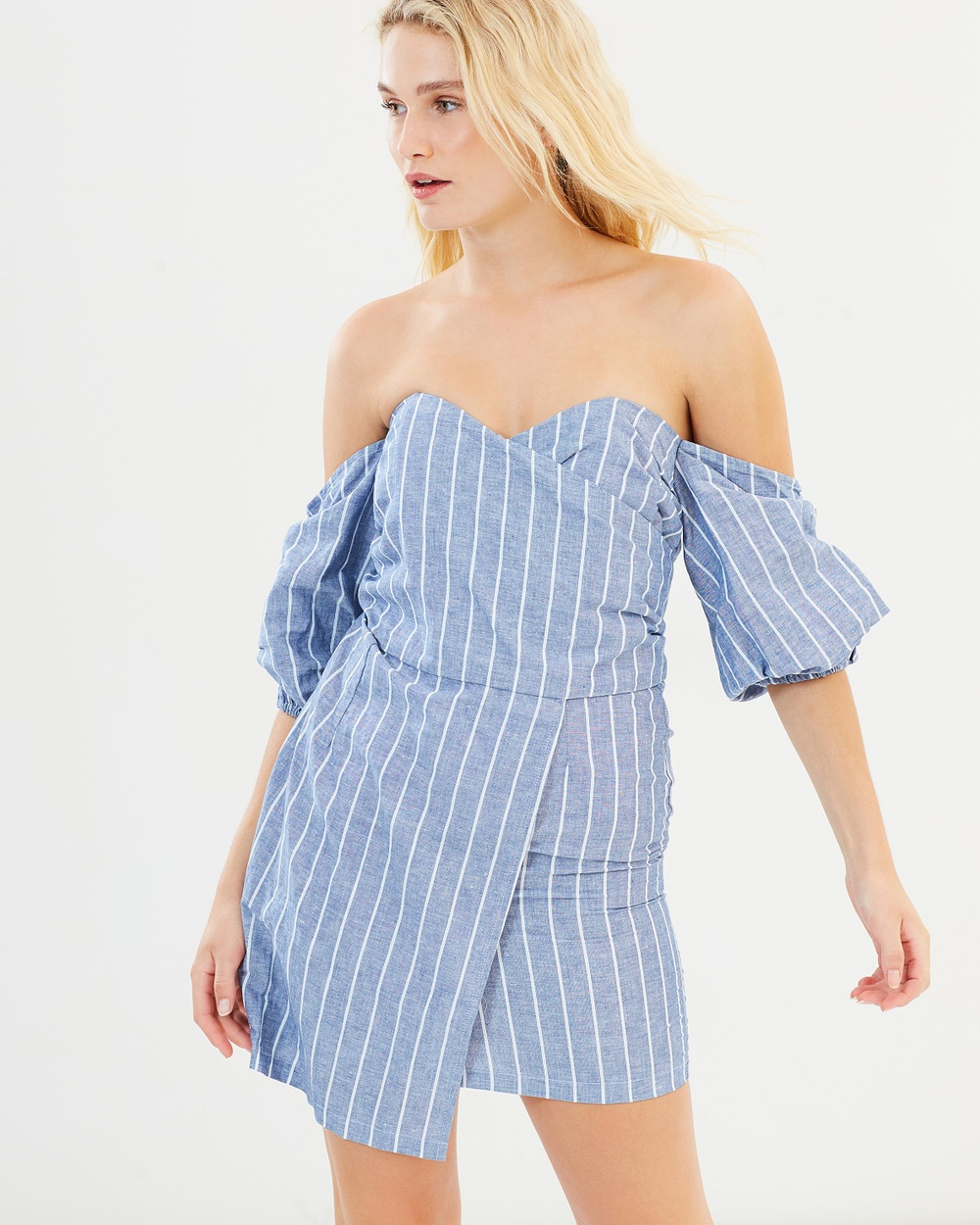 MLM Label Ana Shoulder Wrap Dress Dresses Blue Stripe Ana Shoulder Wrap Dress