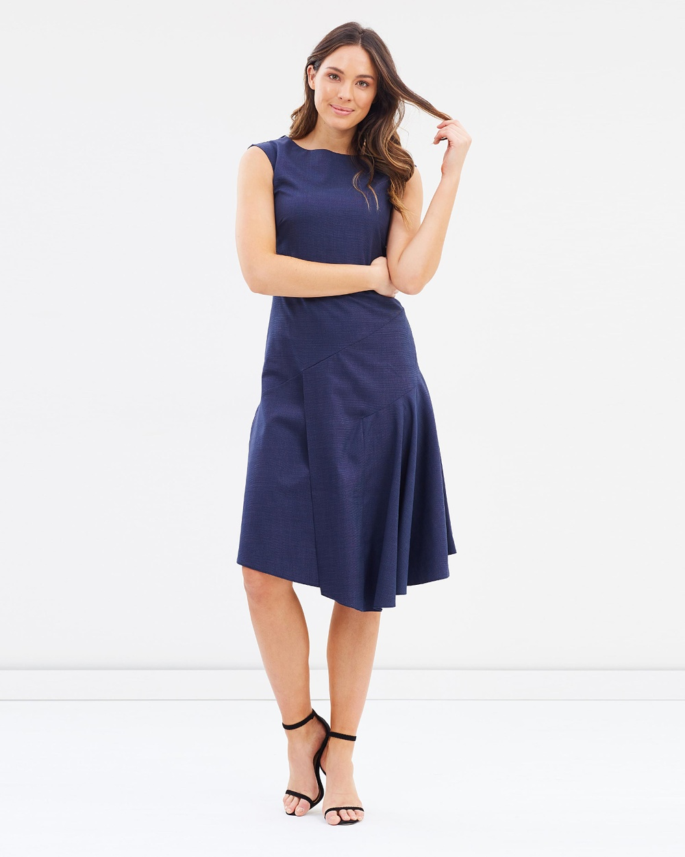 Closet London Asymmetrical Drape Dress Dresses Navy Asymmetrical Drape Dress