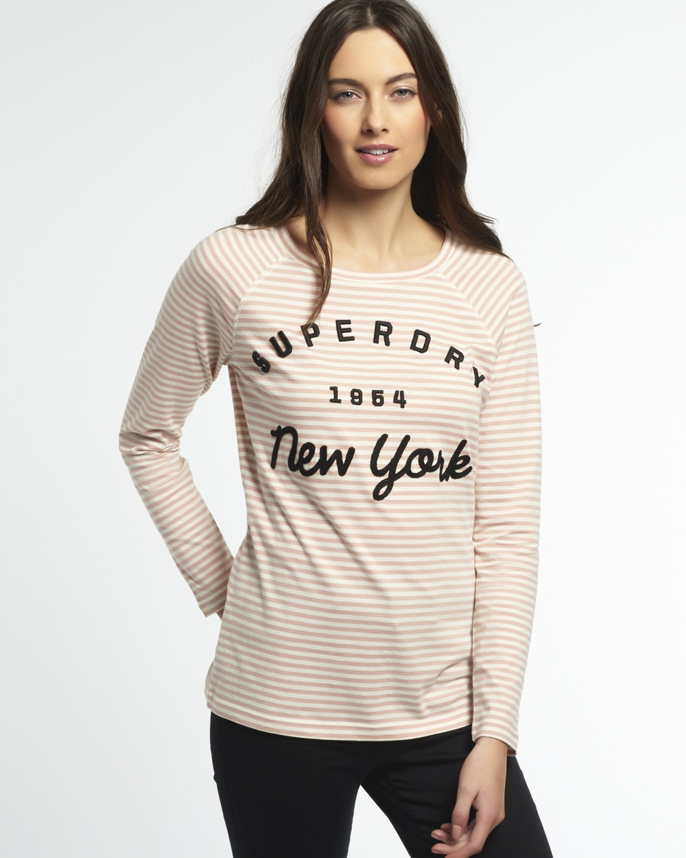 Superdry Applique Raglan Stripe T shirt Tops Blush Pink/Cream Stripe Applique Raglan Stripe T-shirt