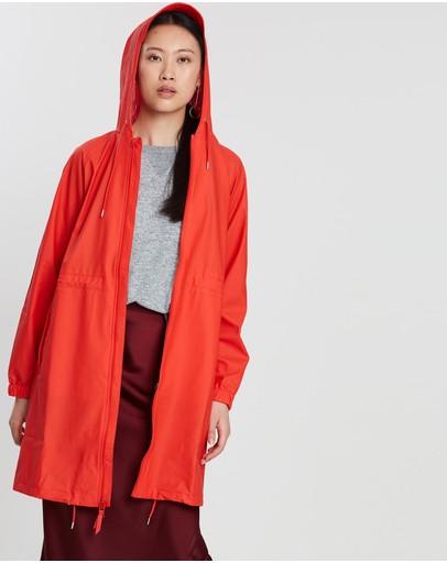 Rains Long W Jacket Red