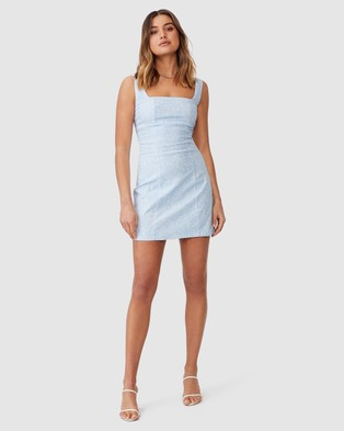 Supre Capri Fitted Squared Neck Mini Dress - Dresses (Stella Floral & Soft Blue)