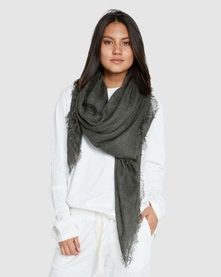 Cloth & Co. Hand Loomed Linen Scarf - Scarves & Gloves (Forest)