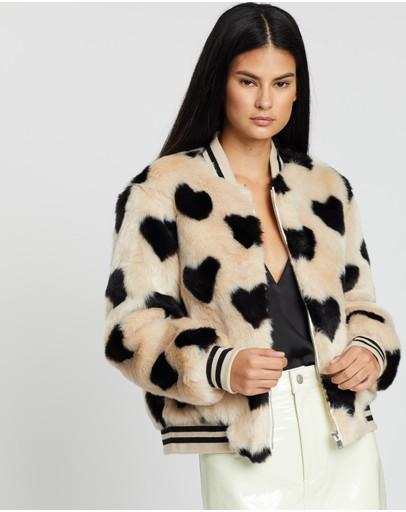 Ena Pelly Essential Faux Fur Bomber Jacket Love Heart