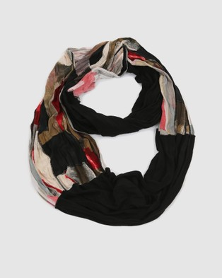 Faye Black Label Paintbrush Red Fleck Scarf - Scarves & Gloves (Red, Black and Off-white)