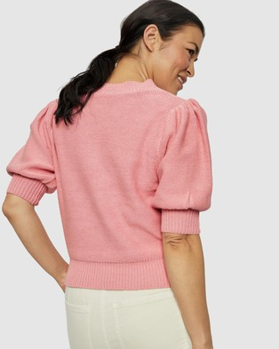 Ceres Life - Australian Cotton Short Puff Sleeve Knit Tops (Washed Pink)
