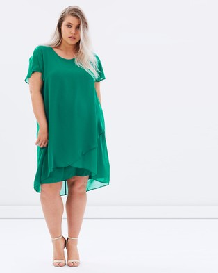 Advocado Plus – Sundancer Overlay Shift Dress Spring Green