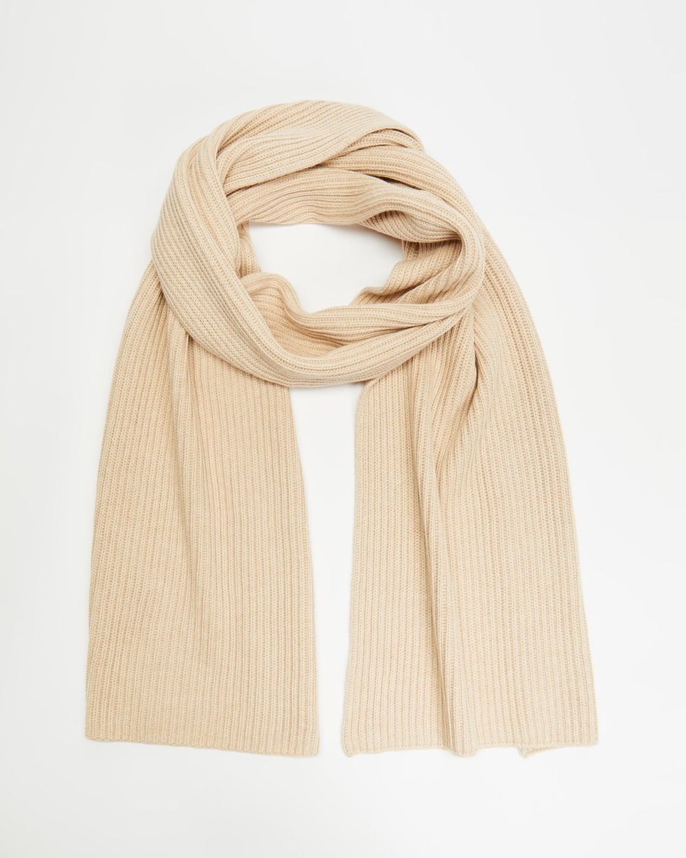 AERE Organic Cotton Knit Scarf Scarves & Gloves Toast