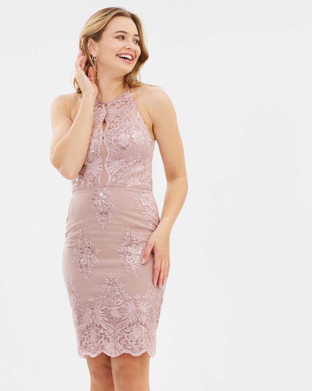 Photo of Lipsy Nude Sequin Lace Dress - buy Lipsy dresses on sale online