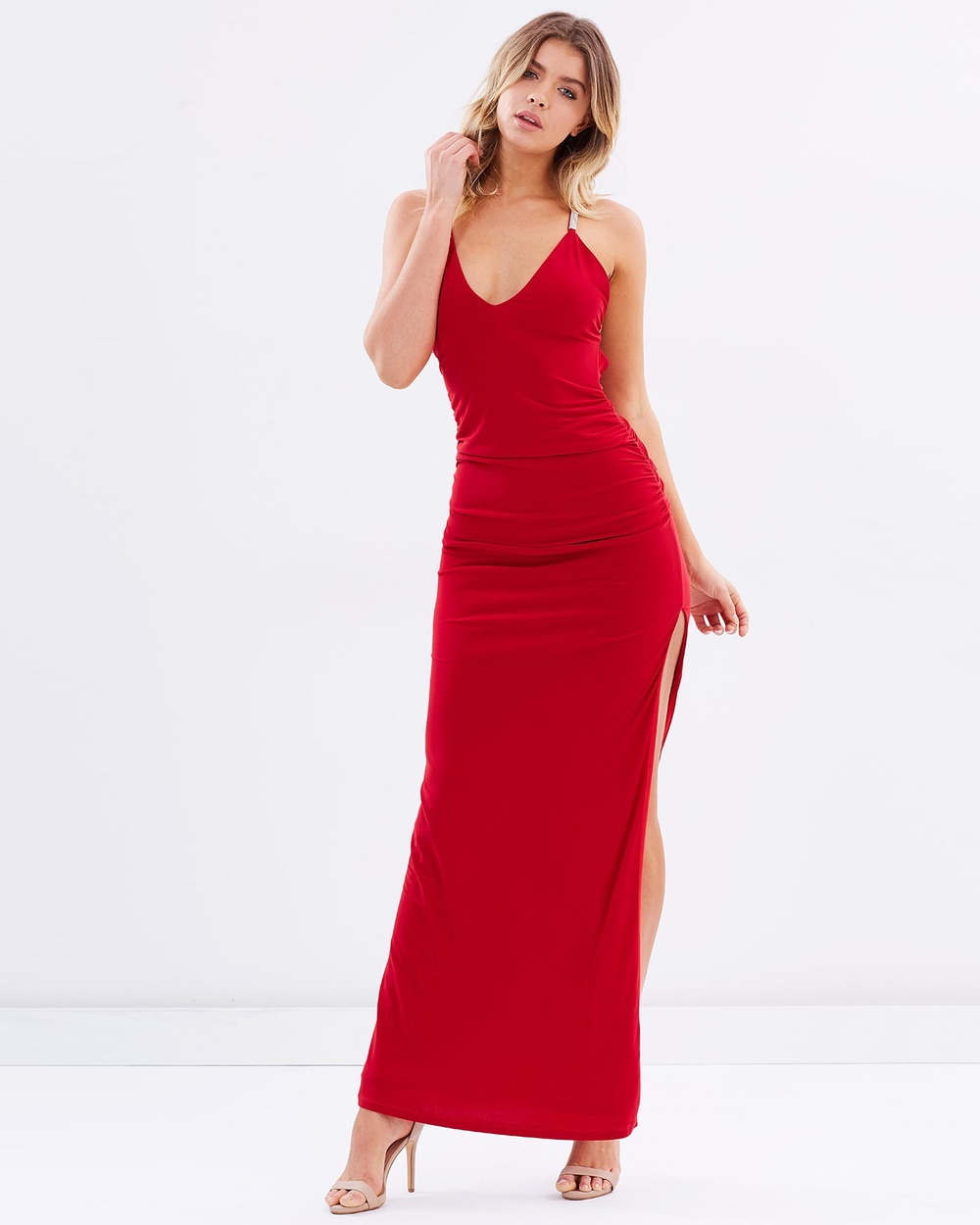 SKIVA Cross Strap Evening Dress Dresses Red Cross Strap Evening Dress