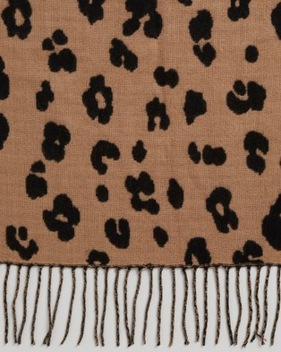 French Connection Two Tone Animal Scarf - Scarves & Gloves (BLACK/CAMEL)