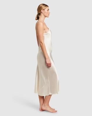 GINIA Silk V Neck Long Nite - Sleepwear (Creme)