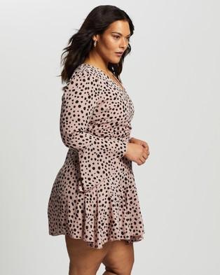 Atmos&Here Curvy - Nola Long Sleeve Wrap Dress - Printed Dresses (Pink Mixed Polka Dot) Nola Long Sleeve Wrap Dress