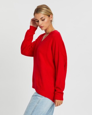 Atmos&Here Latalia Oversized Knit Jumper - Jumpers & Cardigans (Red)