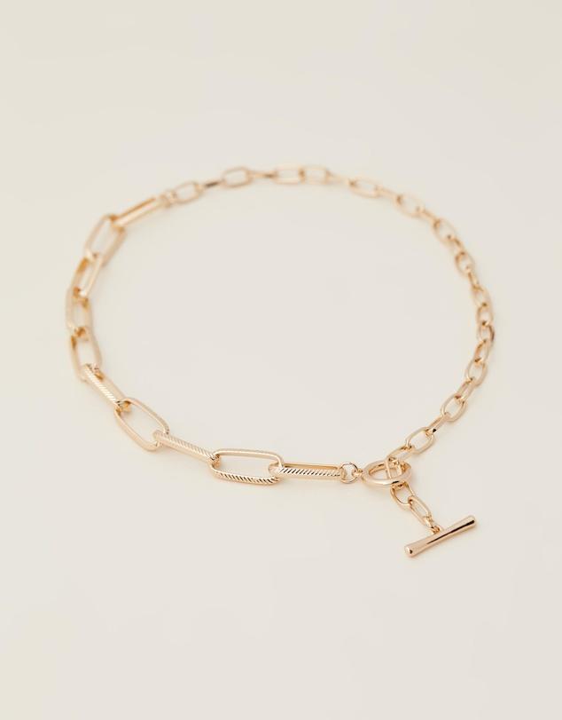 Women Half-Half Paper Clip Necklace