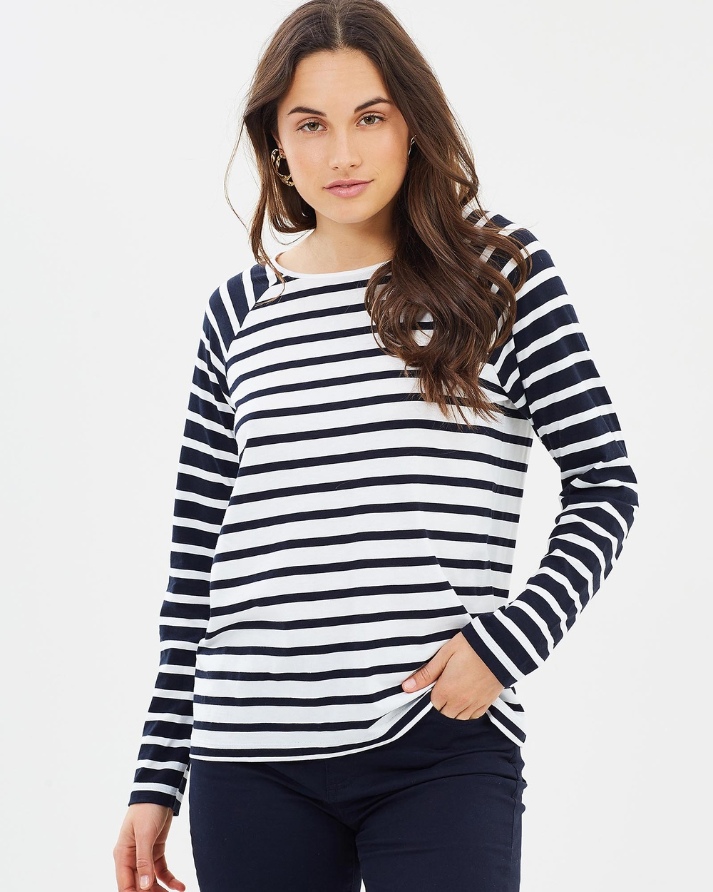 Sportscraft Mallory Mixed Stripe Tee Tops Navy & Ivory Mallory Mixed Stripe Tee