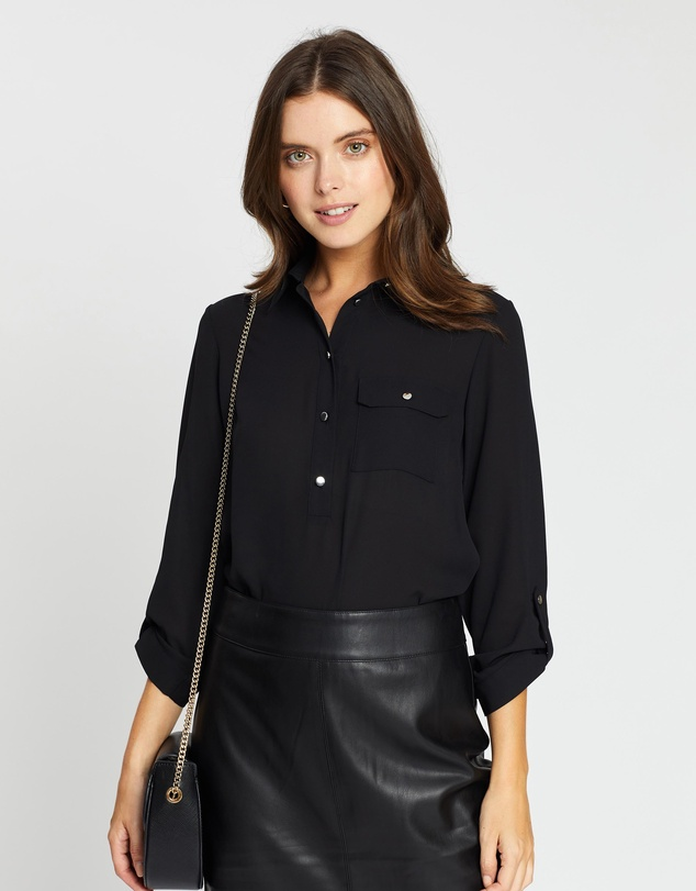 DP Petite - Roll Sleeve Shirt