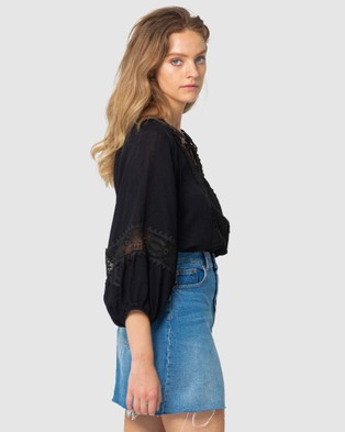 Three of Something Sweet Home Blouse - Tops (BLACK)