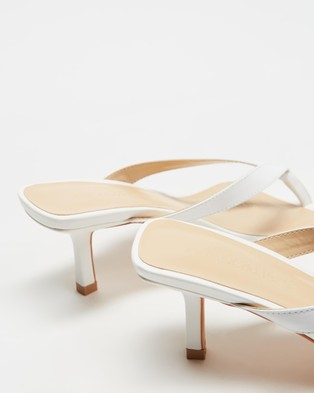 Atmos&Here Roman Leather Heels - Mid-low heels (White Leather)