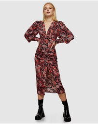TOPSHOP - Ruched Front Floral Print Midi Dress