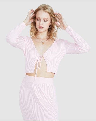 Alice In The Eve India Plunge Skimpy Knit Top Pink