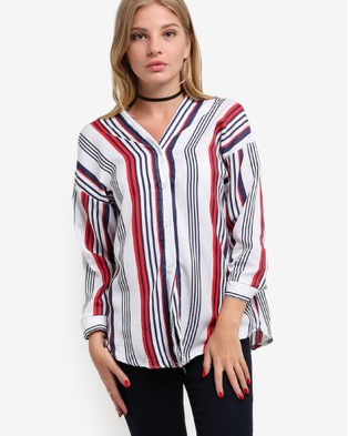 BoyFromBlighty – V Neck Buttoned Shirt White, Red