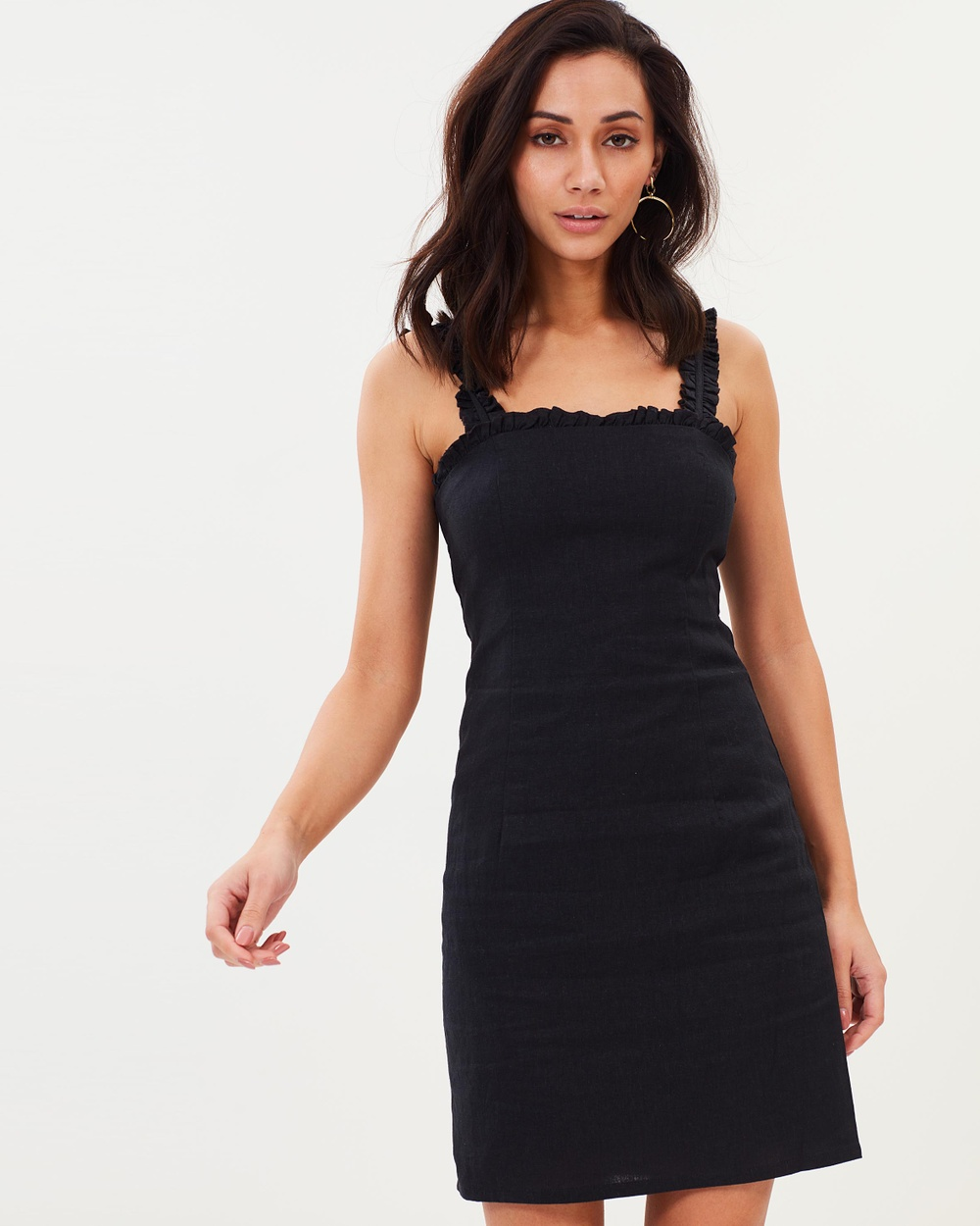 Bardot Shift Frill Dress Dresses Black Shift Frill Dress