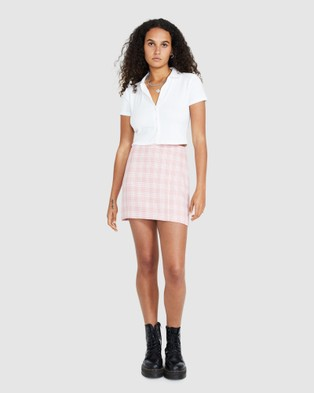 Neon Hart Bonnie Button Up Front Polo Top - Tops (WHITE)
