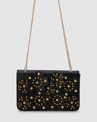 Olga Berg Aerin Flower Covered Shoulder Bag - Handbags (Black)
