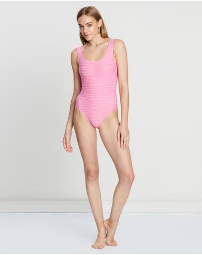 Cleonie Textured Stripe Maillot Pink