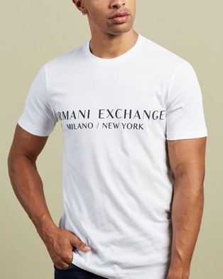 Armani Exchange Slim Crew Neck Logo T Shirt - T-Shirts & Singlets (White)