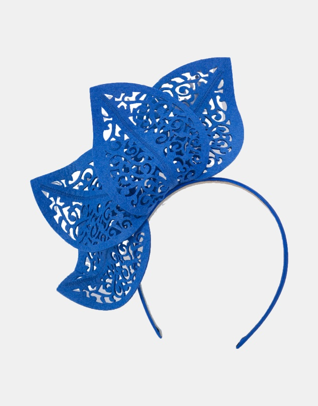Max Alexander - Royal Blue Laser-Cut Leaf Fascinator