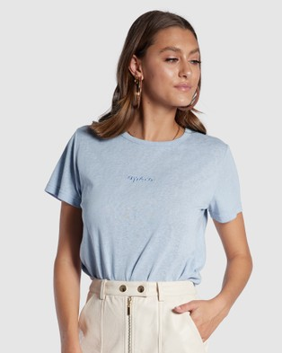 Apero Label Mini Embroidered Femme Tee - Short Sleeve T-Shirts (Blue)